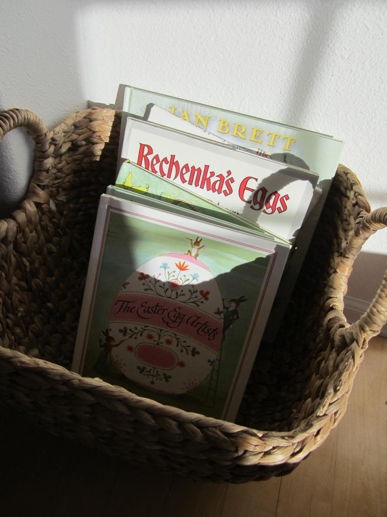 A basket of seasonal books keeps everyone happy!