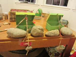 Traps rigged with rubber bands and rocks!