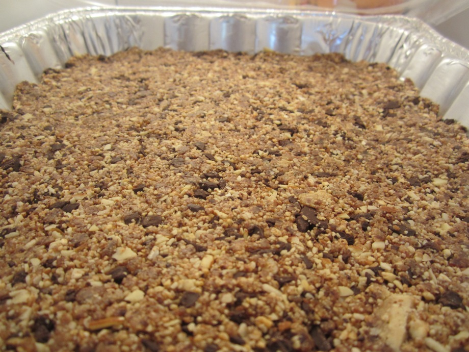 chocolate chip cookie energy bars (before cutting)