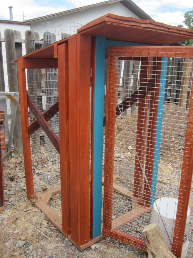 Painting and staining the wood keeps red mites from hiding in the wood and later tormenting your chickens!