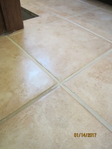 here you can compare the old dirty grout lines with the fresh Grout Renew lines